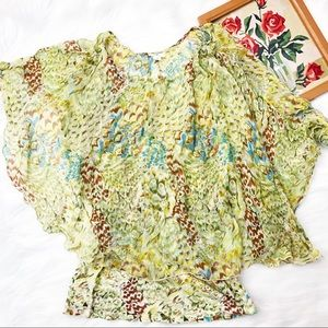 Anthropologie Tiny floral silk cape blouse top